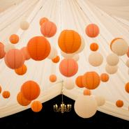 Peach and orange coloured hanging lanterns