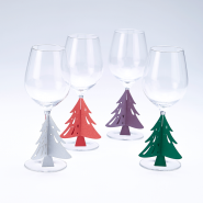 Christmas Tree wine glass stem decorations
