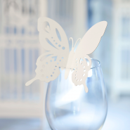 Wedding butterfly Wine glass name card