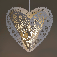 White Christmas heart lanterns illuminated with Buttonlite LED lights