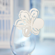 White flower glass wedding name card