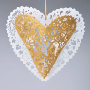 white and gold christmas hearts
